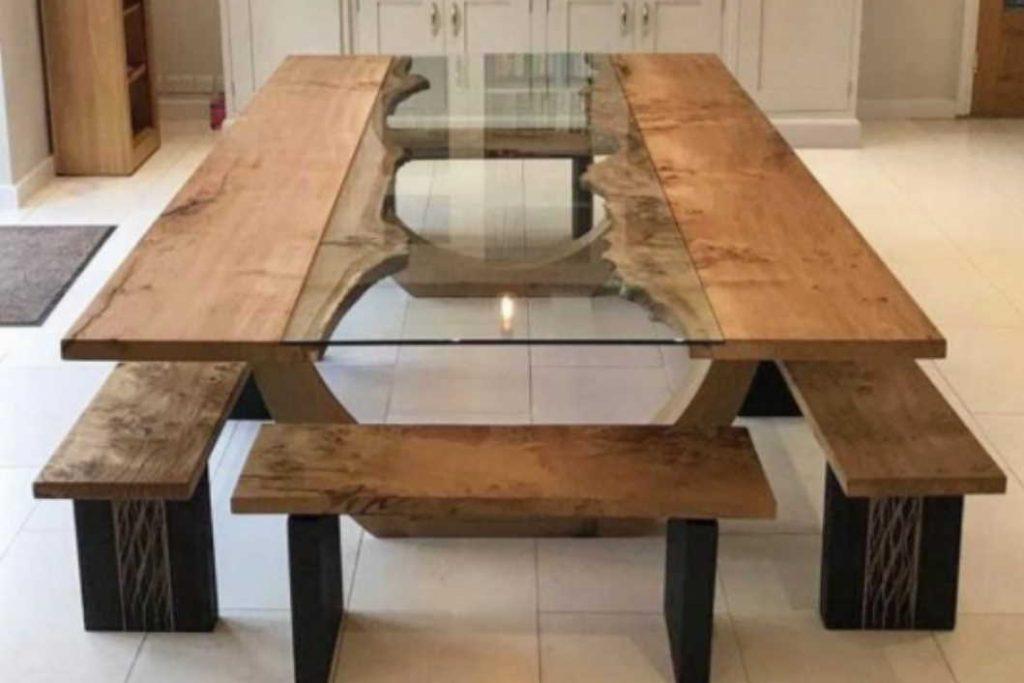 שולחן אוכל זכוכית ועץ