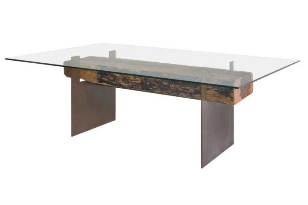 שולחן אוכל זכוכית ועץ 2